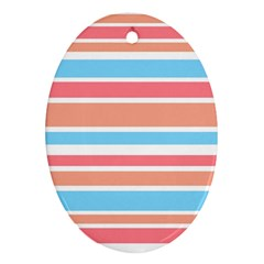 Orange Blue Stripes Ornament (Oval)  by BrightVibesDesign