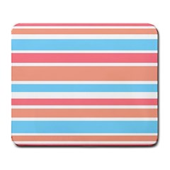 Orange Blue Stripes Large Mousepads by BrightVibesDesign