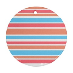 Orange Blue Stripes Round Ornament (two Sides)  by BrightVibesDesign
