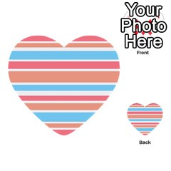 Orange Blue Stripes Multi Purpose Cards (heart)  by BrightVibesDesign