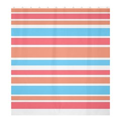 Orange Blue Stripes Shower Curtain 66  X 72  (large)  by BrightVibesDesign