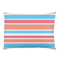 Orange Blue Stripes Pillow Case (two Sides) by BrightVibesDesign
