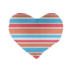 Orange Blue Stripes Standard 16  Premium Flano Heart Shape Cushions by BrightVibesDesign