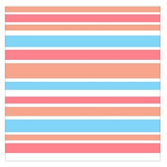 Orange Blue Stripes Large Satin Scarf (square) by BrightVibesDesign
