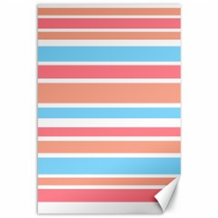 Orange Blue Stripes Canvas 12  X 18   by BrightVibesDesign