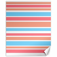 Orange Blue Stripes Canvas 16  X 20   by BrightVibesDesign