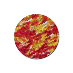 Colorful Splatters                                      			rubber Coaster (round) by LalyLauraFLM