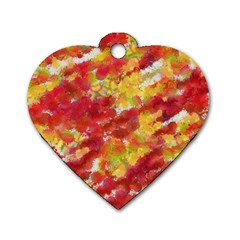 Colorful Splatters                                      			dog Tag Heart (one Side) by LalyLauraFLM