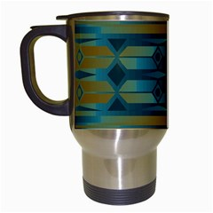 Blue Green Gradient Shapes                                       Travel Mug (white) by LalyLauraFLM