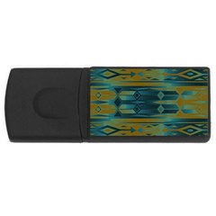 Blue Green Gradient Shapes                                       			usb Flash Drive Rectangular (4 Gb) by LalyLauraFLM