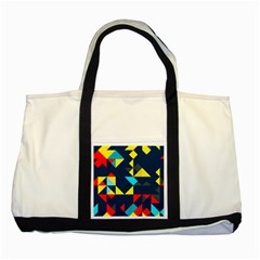 Colorful Shapes On A Blue Background                                        			two Tone Tote Bag by LalyLauraFLM