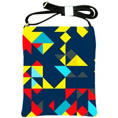 Colorful Shapes On A Blue Background                                        			shoulder Sling Bag by LalyLauraFLM