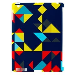 Colorful Shapes On A Blue Background                                        			apple Ipad 3/4 Hardshell Case (compatible With Smart Cover) by LalyLauraFLM
