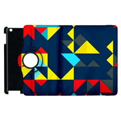 Colorful Shapes On A Blue Background                                        			apple Ipad 2 Flip 360 Case by LalyLauraFLM