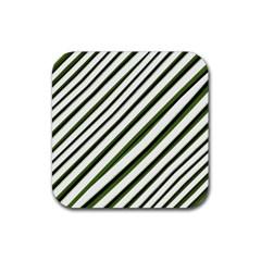 Diagonal Stripes Rubber Coaster (square)  by dflcprints