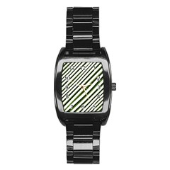 Diagonal Stripes Stainless Steel Barrel Watch by dflcprints