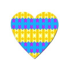 Rhombus And Other Shapes Pattern                                          magnet (heart) by LalyLauraFLM