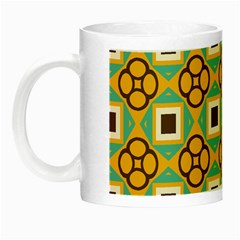 Flowers And Squares Pattern                                            Night Luminous Mug by LalyLauraFLM
