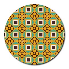 Flowers And Squares Pattern                                            round Mousepad by LalyLauraFLM