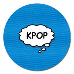 Comic Book Kpop Blue Magnet 5  (Round) by ComicBookPOP