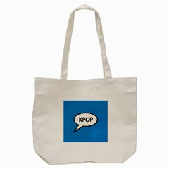 Comic Book Shout Kpop (blue) Tote Bag (cream) by ComicBookPOP