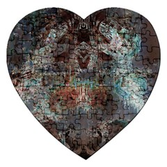 Metallic Copper Patina Urban Grunge Texture Jigsaw Puzzle (heart) by CrypticFragmentsDesign