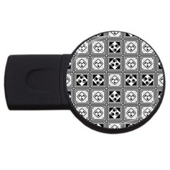 Black And White Usb Flash Drive Round (2 Gb)  by FunkyPatterns
