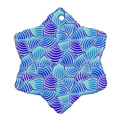 Blue And Purple Glowing Snowflake Ornament (2 Side) by FunkyPatterns