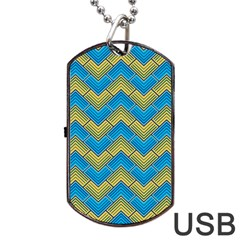 Blue And Yellow Dog Tag USB Flash (Two Sides)  by FunkyPatterns
