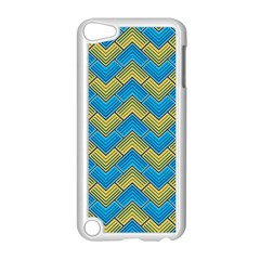 Blue And Yellow Apple iPod Touch 5 Case (White) by FunkyPatterns