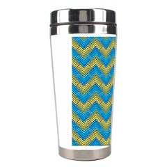 Blue And Yellow Stainless Steel Travel Tumblers by FunkyPatterns