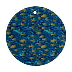 Blue Waves Ornament (round)  by FunkyPatterns
