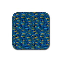 Blue Waves Rubber Square Coaster (4 Pack)  by FunkyPatterns