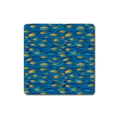Blue Waves Square Magnet by FunkyPatterns