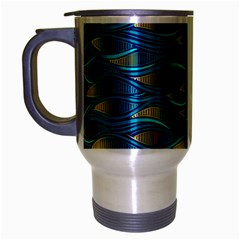 Blue Waves Travel Mug (silver Gray) by FunkyPatterns
