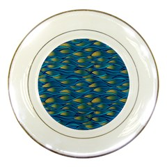 Blue Waves Porcelain Plates by FunkyPatterns
