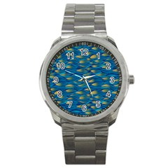 Blue Waves Sport Metal Watch by FunkyPatterns