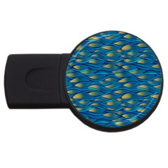 Blue Waves Usb Flash Drive Round (4 Gb)  by FunkyPatterns