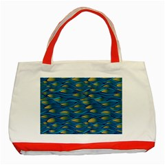 Blue Waves Classic Tote Bag (red) by FunkyPatterns