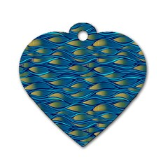 Blue Waves Dog Tag Heart (two Sides) by FunkyPatterns