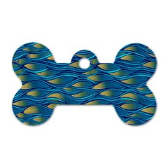 Blue Waves Dog Tag Bone (one Side) by FunkyPatterns