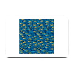 Blue Waves Small Doormat  by FunkyPatterns
