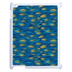 Blue Waves Apple Ipad 2 Case (white) by FunkyPatterns