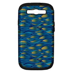 Blue Waves Samsung Galaxy S Iii Hardshell Case (pc+silicone) by FunkyPatterns