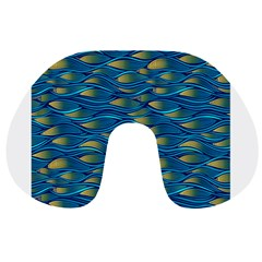 Blue Waves Travel Neck Pillows by FunkyPatterns