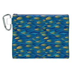 Blue Waves Canvas Cosmetic Bag (xxl)  by FunkyPatterns