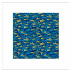 Blue Waves Large Satin Scarf (square) by FunkyPatterns