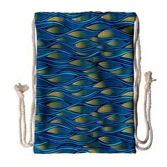 Blue Waves Drawstring Bag (large) by FunkyPatterns