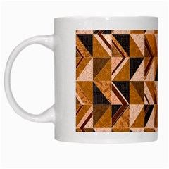 Brown Tiles White Mugs by FunkyPatterns
