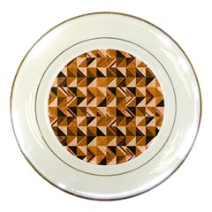 Brown Tiles Porcelain Plates by FunkyPatterns